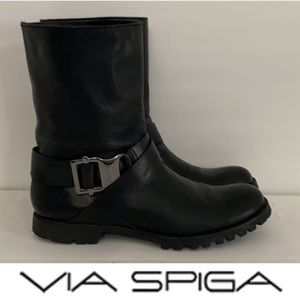 Authentic Via Spiga black leather moto boots Sz 10